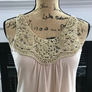 Tops - Beautiful bone colored tunic with gold detailing